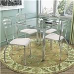Sala de Jantar Kappesberg - Base Cromada Reno Vidro 90cm+4 Cadeiras Portugal Branco-Branco 106