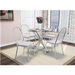 Sala de Jantar Kappesberg - Base Cromada Volga Vidro 95cm+4 Cadeiras Noruega/Branco-Branco 106