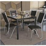 Sala de Jantar Kappesberg - Base Preta Reno Vidro 90cm+4 Cadeiras Londres Preto-Preto 110