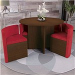 Sala de Jantar Kappesberg Nirá 4 Cadeiras Walnut e Vermelho