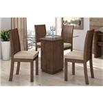 Sala de Jantar Lopas-Base Madeirado Petra C/Tampo de Vidro 90m+4 Cadeiras Florença-Cor Imbuia Soft