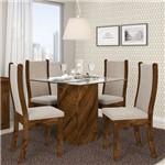 Sala de Jantar Mesa Formosa Vidro e 4 Cadeiras Malta Malbec/bege - Dj Móveis