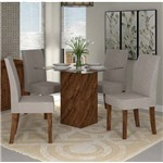 Sala de Jantar Mesa Formosa Vidro e 4 Cadeiras Olimpia Malbec/bege - Dj Móveis