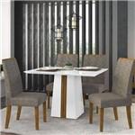 Sala de Jantar Mesa Itália 120cm e 4 Cadeiras Áurea Branco/demolição/bronze - Dj Móveis