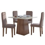 Sala de Jantar Nevada 100cm com 4 Cadeiras Imbuia - Velvet Rosê