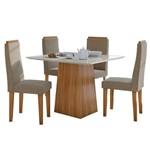 Sala de Jantar Nevada 100cm com 4 Cadeiras Rovere - Sued Animale Bege
