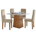 Sala de Jantar Nevada 100cm com 4 Cadeiras Rovere - Veludo Naturale Creme