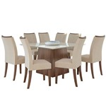 Sala de Jantar Nevada 130cm com 8 Cadeiras Imbuia - Linho Rinzai Bege
