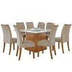 Sala de Jantar Nevada 130cm com 8 Cadeiras Rovere - Velvet Riscado Bege