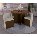 Sala de Jantar Nira com 4 Cadeiras Kappesberg - Walnut/bege