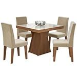 Sala de Jantar Olívia 100 Cm com 4 Cadeiras Savana/Off White - Sued Bege