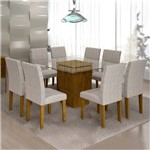 Sala de Jantar Ômega 8 Cadeiras Classic Ypê Suede Cinza 90