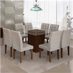 Sala de Jantar Ômega 8 Cadeiras Vitória Chocolate Suede Cinza 90