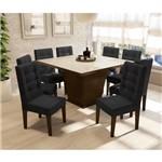 Sala de Jantar Pitanga com 8 Cadeiras Kappesberg - Walnut/preto