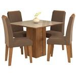Sala de Jantar Rafaela 95 Cm com 4 Cadeiras Savana/Off White - Chocolate