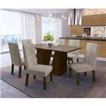 Sala de Jantar Romã com 6 Cadeiras Kappesberg - Walnut/bege