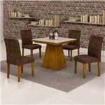 Sala de Jantar Sevilha 4 Cadeiras Classic Ypê Animale Marrom 52