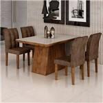 Sala de Jantar Sevilha I 4 Cadeiras Vitoria Chocolate Animale Marrom 52