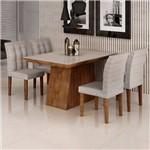 Sala de Jantar Sevilha I 4 Cadeiras Vitoria Chocolate Suede Cinza 90