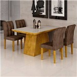 Sala de Jantar Sevilha I 4 Cadeiras Vitoria Ypê Animale Marrom 52