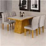 Sala de Jantar Sevilha I 4 Cadeiras Vitoria Ypê Suede Cinza 90