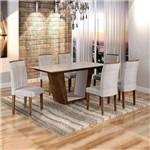 Sala de Jantar Viggor 6 Cadeiras Belle Chocolate Suede Cinza 90