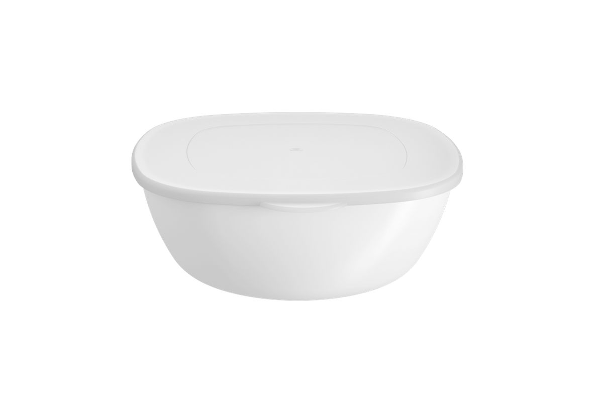 Saladeira C/ Tampa Essential 1,3L 20,6x19,5x7,2cm Branco Coza