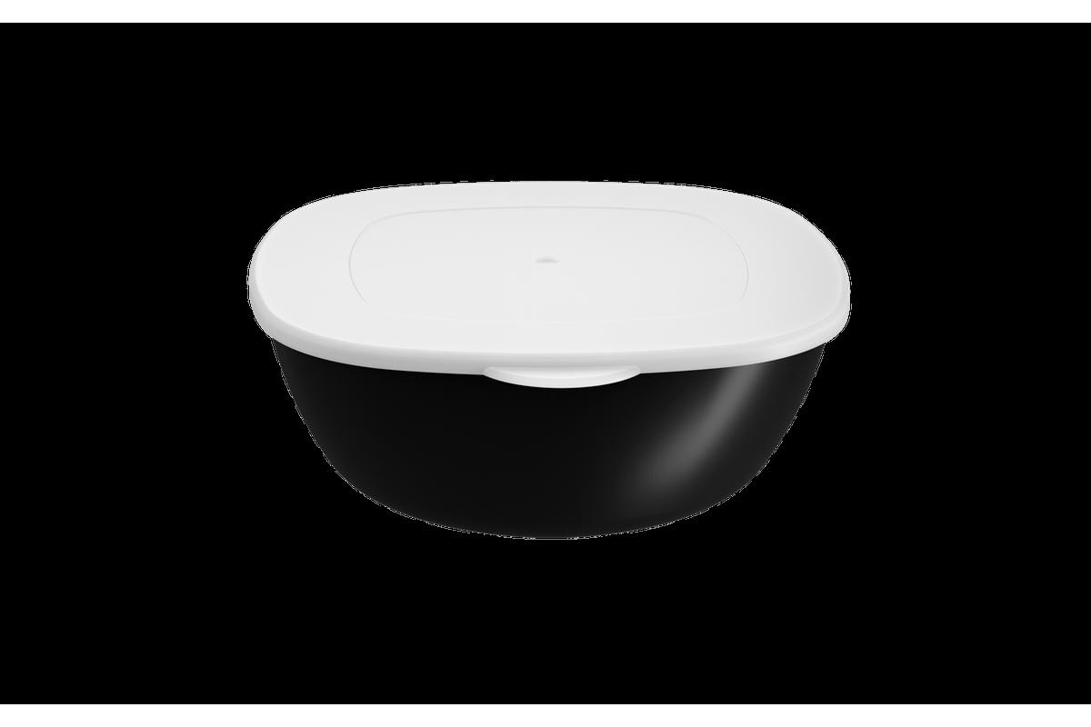 Saladeira C/ Tampa Essential 1,3L 20,6x19,5x7,2cm Preto Coza