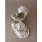 Sandália de Bebê Infantil Tamanho 14 Bege e Dourado com Laço, Pérola e Strass