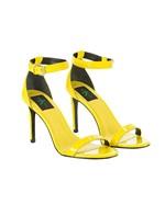 Sandália Tiras Calvin Klein Jeans Couro Verniz Amarelo Ouro - 35