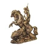 São Jorge no Cavalo Grande de Resina Cor Ouro Envelhecido .