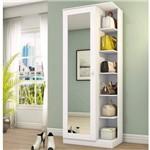 Sapateira 1 Porta com Espelho Happy Siena Móveis Branco Fosco