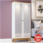 Sapateira 2 Portas Espelhadas Retrô 100% Mdf C706 Off White/Freijo