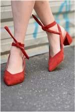 Sapato Feminino Salto Médio Miley Mundial CAM - VERMELHO 36