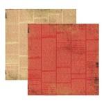 Scrap Basico Vintage Vermelho Jornal KFSB199 Toke e Crie