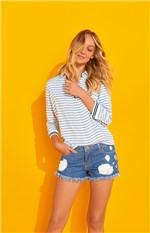 Short Jeans Comfort com Apliques Enfim Azul Claro - 34