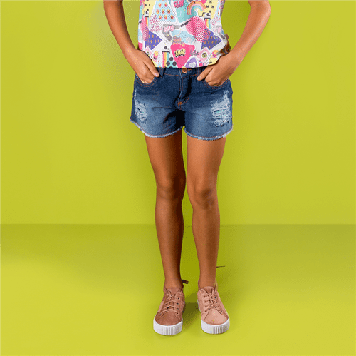 Short Mix Divertido Jeans/10 e 12
