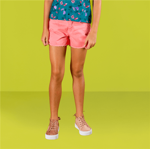Short Mix Divertido Rosa Forte/12 e 14