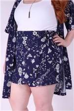 Short´s Saia Foral Plus Size Azul Marinho P