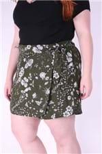 Short´s Saia Foral Plus Size Verde P