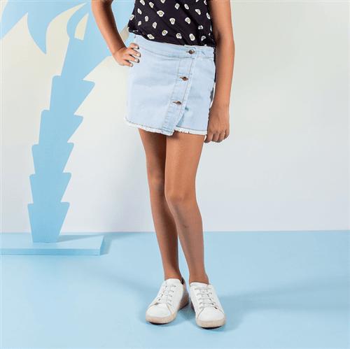 Short-saia Corações Étnicos Short-saia Gato Seames Jeans/10 e 12