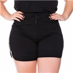 Shorts Bordado Barra Arredondada Plus Size P