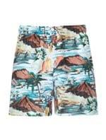 Shorts Cena Havaiana Estampado Azul Tamanho P