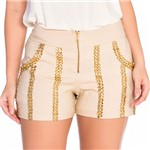 Shorts com Bolso e Bordado Manual M