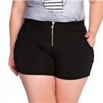 Shorts com Bolso e Zíper Frontal Plus Size M