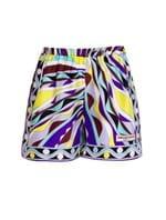 Shorts Curto de Seda Estampado Azul Tamanho 42