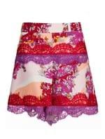 Shorts de Seda Estampado Vermelho Tamanho 40