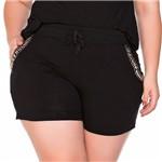 Shorts em Malha Bordado Plus Size PP