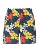 Shorts Hibiscos Floral Azul Tamanho M
