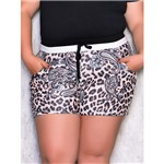 Shorts Plus Size Animal Print com Ribana Cinza P